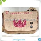 strong jute School Messenger Bag with printing logo