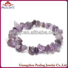 semi-precious stone elastic amethyst chip bracelet