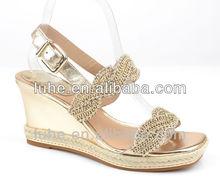 Latest design women diamonds wedge wedding sandals 2015