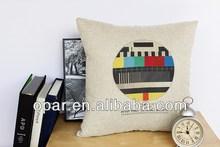 Linen fashion cushion screen print brand name pad cushions