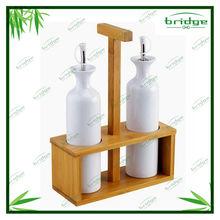 Ceramic Cruet Set with Bamboo Rack