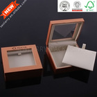 Plastic high quality leather jewerly box with PET window see through