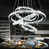 Modern big chandelier round ring led crystal pendant lamp