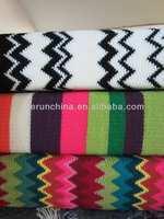 50CI94-3 100%acrylic waterwave jaquard tricot knit blanket shawl throw with flange