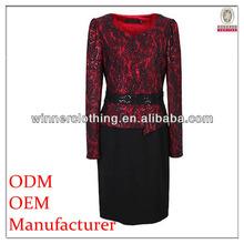 Office women preferred lace trim autumn wear pencil skirt dress