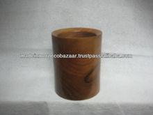 Pretty Moroccan Round Thuya Wood Pen Holder Box 10 cm x 8 cm