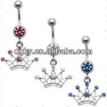 piercing de princesa da coroa imperial de cristal de barriga anel