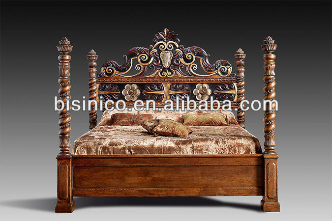 Luxury European Royal Furniture Bedroom Set Solid Wood Hand Carved Bed View