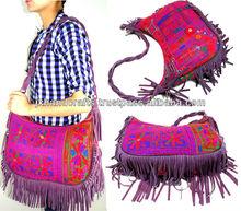 womens leather fringe hand bags tribal banjara handbags