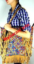 Handmade Embroidered Gypsy Banjara Handbags Leather Fringe Handbags