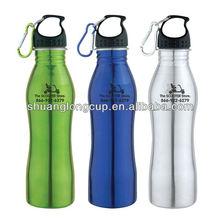 500 ml 750 ml Curved BPA free Stainless Steel Water Bottle W/ Carabiner