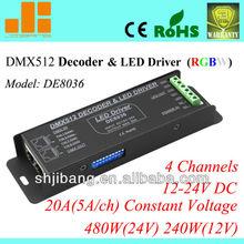 2013 high quality dmx controller, dmx console ,dmx512 decoder led rgb controller (20A 480W 4CH) DE8036