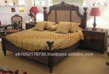 Wooden Cane Bed Set , Rosewood Bed Set