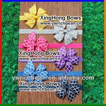 2014 New style baby elastic Headband with Quatrefoil bow!12 colors cute custom headband with Quatrefoil ribbon bow !WH-937