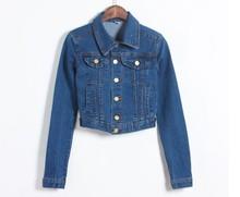 fashion vintage women's long-sleeve denim short jacket denim coat all match denim jacket