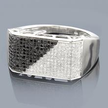 10K Black and White Mens Diamond Ring 0.65ct