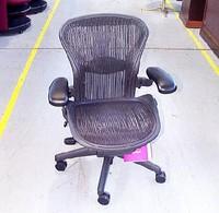 Executive Aeron Chair by Herman Miller Polished Aluminum Frame Leather Arms PostureFit Lumbar
