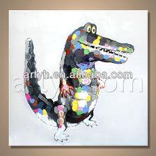 Oil Painting Canvas Animal Crocodile For Decor