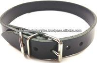 Real Leather Black Dog Collars for growing dogs and Puppies