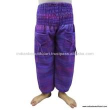 Winter Wear Harem Fashionable Purple Trouser Wool Blend Strip Pattern Warm Pants