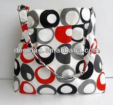 Canvas Diaper Messenger Bag Circle Printing Diaper Bag Messenger Black Orange White Canvas Diaper Bag