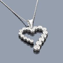 14K Gold Diamond Journey Pendant Heart Charm 0.75ct
