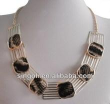 Fashion marbling eanmel square linked silver platting necklace yiwu singoli jewelry