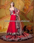 New modern and long style beautiful bridal heavy embroidery red colour wedding Evening dress with long dupatta