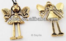 WHOLESALE METAL PENDNAT CHARM old gold coloured Metal pendant/charm angel 57x37mm (hole 3mm)