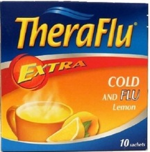 Theraflu Cold and Flu Extra, Lemon Taste 10 Saches in Box