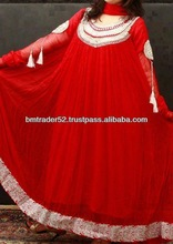 Beautiful new and unique design pakistani frog style casual wear with lite hand embroidery red colour evening dress