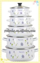 Elegant Light Blue Flower Decal White Enamel Cooking Pot Set 5 Pcs Cast Iron Stew Pot