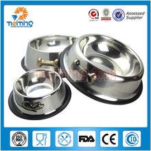 Custom Feeding stainless steel Non-slip cat / dog bowl with plastic Rim by World of pet