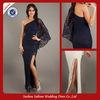 P0780 One Long Sleeve Lace Side Slit Floor Length Prom Dress