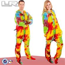 Adult footed tie dye pajamas One piece jumpsuit romper play suit pjs