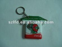 PVC LED keychain, light reflective keychain, promotion plastic key ring with light