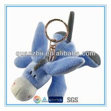 "Mini 4"" blue plush donkey keychain toy"