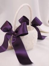 Yeni ürün! Aaaa kalitesini mor çiçek kız sepeti- mor ve fildişi alencon dantel çiçek düğün dekorasyon çiçek kız sepeti