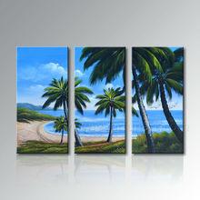 Handmade Modern Seascape Canvas Palm Tree Oil Painting On Canvas