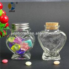 heart shape wishing glass bottle with metal lid/rubber cork & 100ml wishing glass bottle