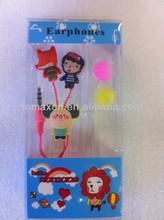 Bulk china OEM 3D PVC earphones for promotional gift