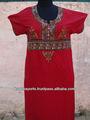 Rouge brodé caftans abayas islamique porter long caftans abayas femmes& burka
