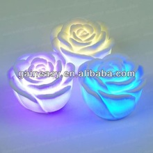 Romantic Colored LED Floating Rose Flower Candle Night Light Valentines Day