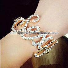 Rhinestone alphabet girls sexy word gold jewelry bracelet for women