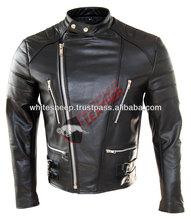 Men's Classic Biker Brando Style Genuine Leather Fashion Jacket