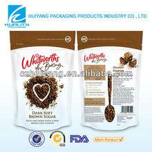 HOT!! Dark soft brown sugar zipper top designed food packaging plastic bag