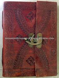 Beautiful Genuine Leather Hand Made Diary and Journal With Lock and Embossing Pattern