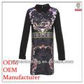 Cina azienda produttrice di abbigliamento ladies' trincea matita stampato stand manica lunga collo ultimo vestito disegni