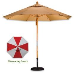 9' Wood Market Umbrella - Alternating Panels - Fiberglass Rib