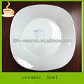 Lj-4501 9 '' barato placas brancas de jantar para restaurante / louça de porcelana quadrado profundo p / silver rim prato de jantar de porcelana